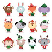 Collection of animals design with Christmas and winter theme costumes