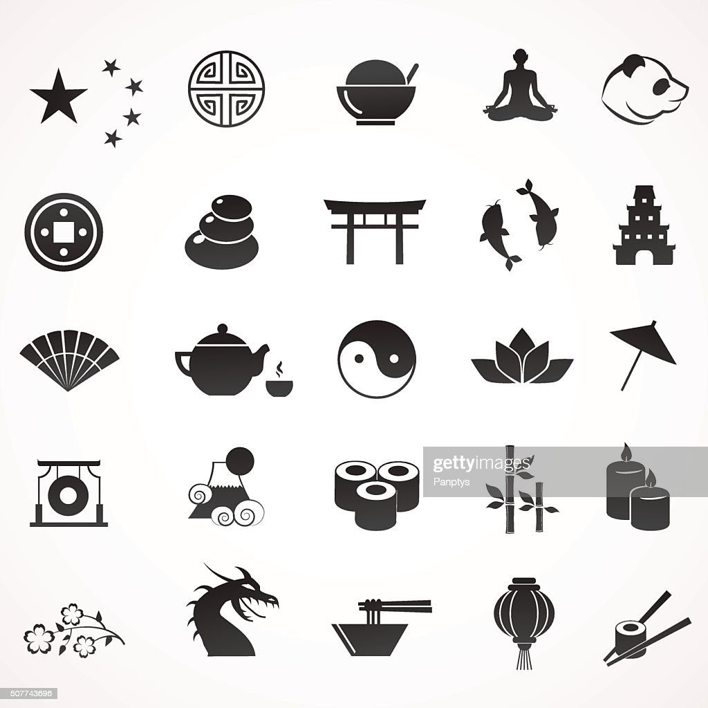 Collection of asian, chinese, japanese icons.