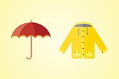 collection of autumn clothes set items the fall acorn leaves tree rain clouds cold weather red yellow colors coat raincoat parka vector illustration umbrella