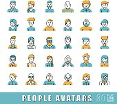 Collection of avatars related to various types of  people.