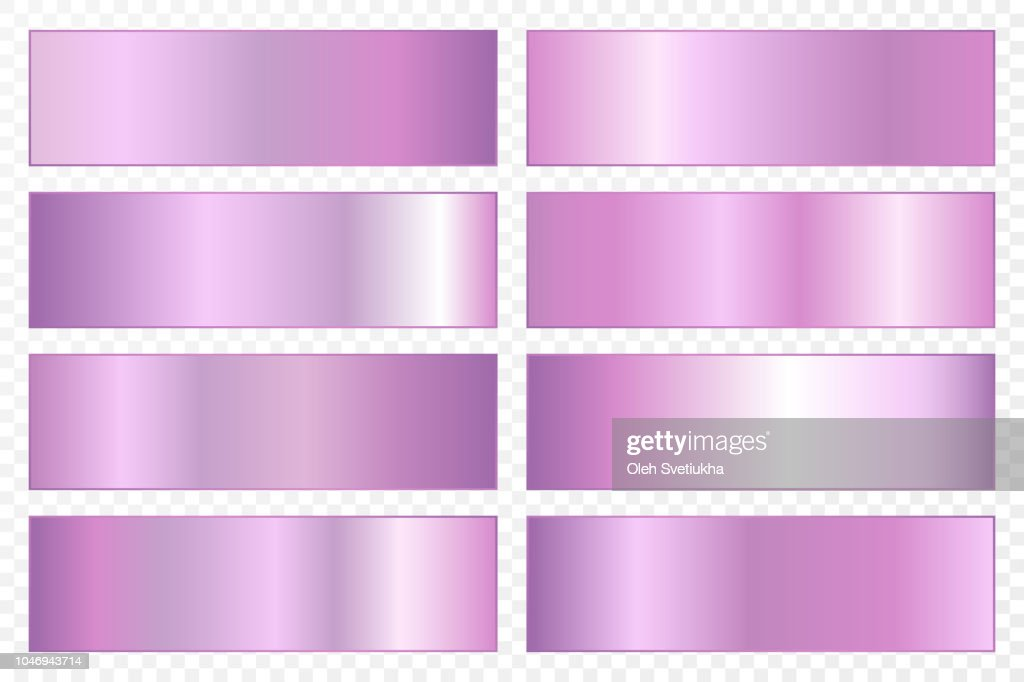 Collection of backgrounds with a metallic gradient. Brilliant plates with ultraviolet effect. Vector illustration