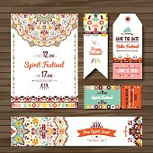 Collection of banners, flyers or invitations with geometric elements