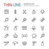 Collection of barbershop thin line icons