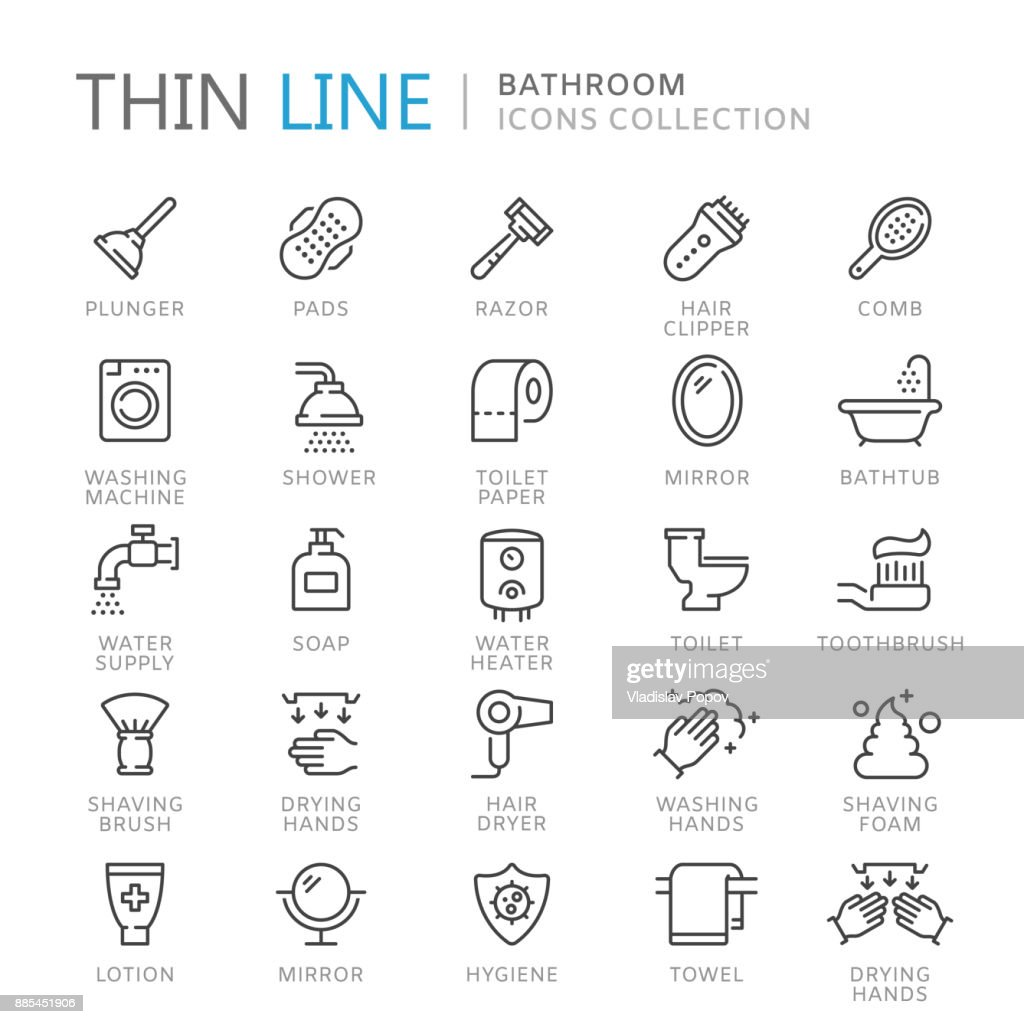 Collection of bathroom thin line icons