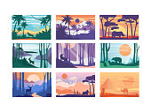 Collection of beautiful scene of nature, peaceful landscape with animals in different time of day, templates for banner, poster, magazine, cover horizontal vector Illustration
