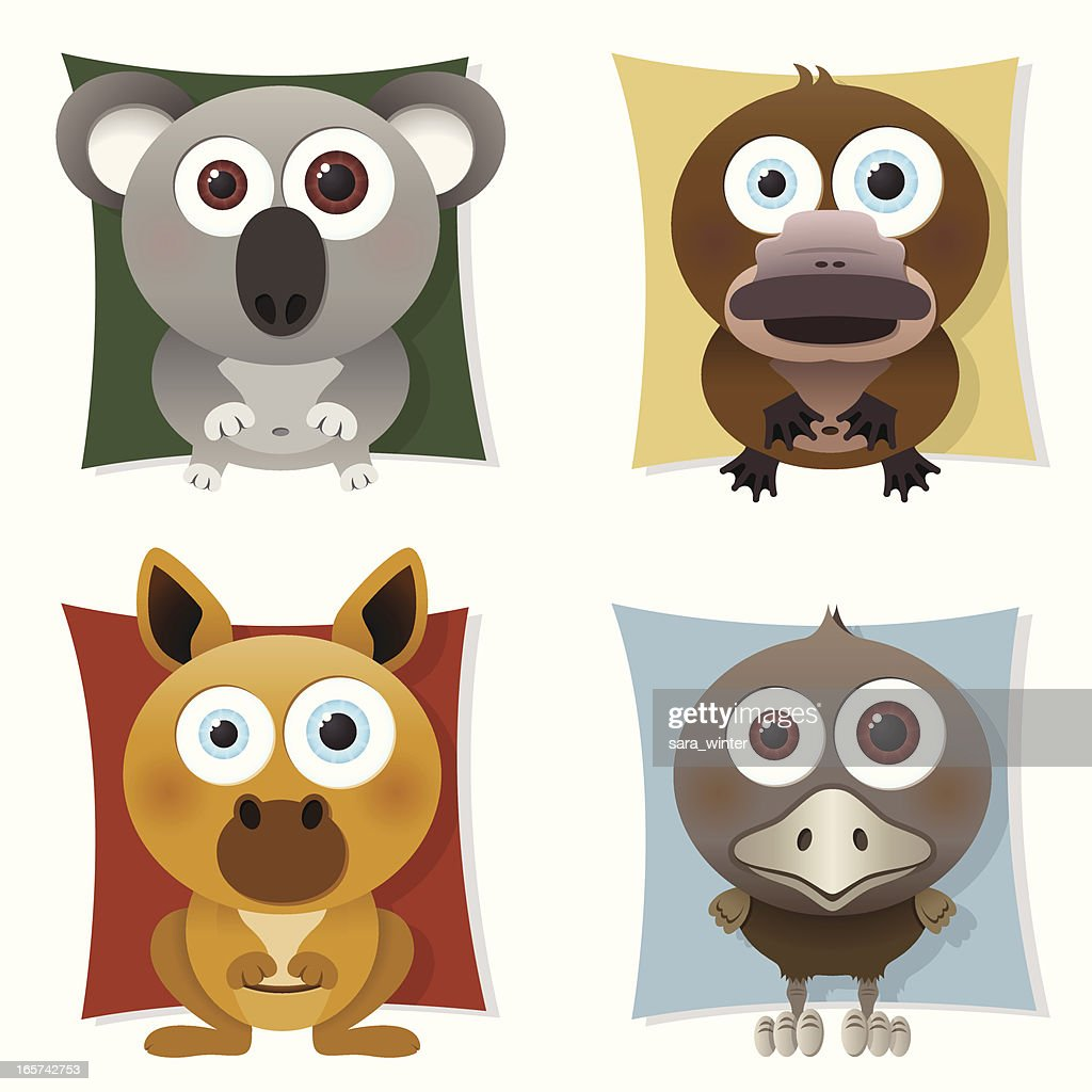 Collection of big-eyed Australian animals: koala, platypus, kangaroo, emu