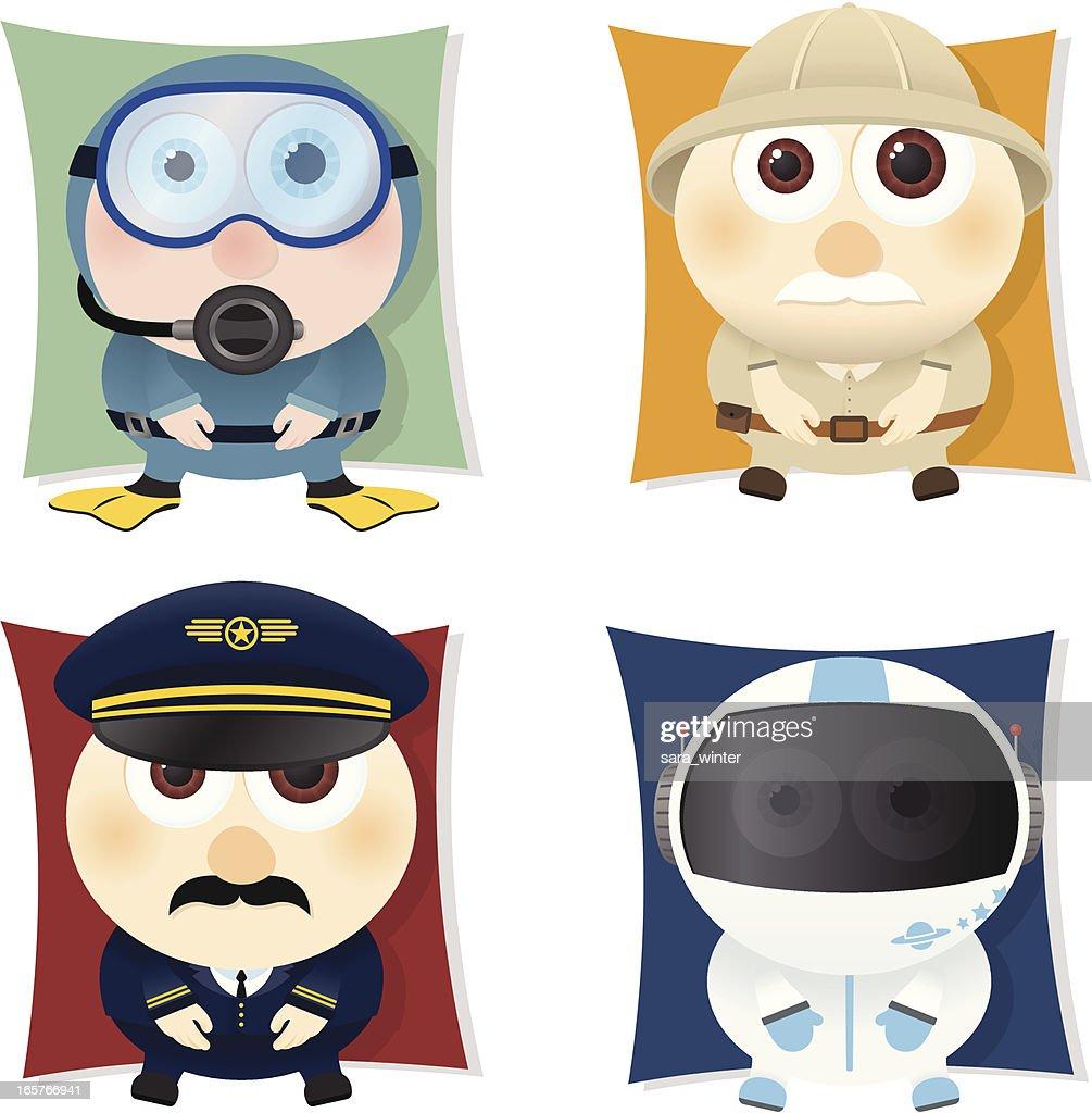 Collection of big-eyed explorers: diver, explorer, pilot astronaut