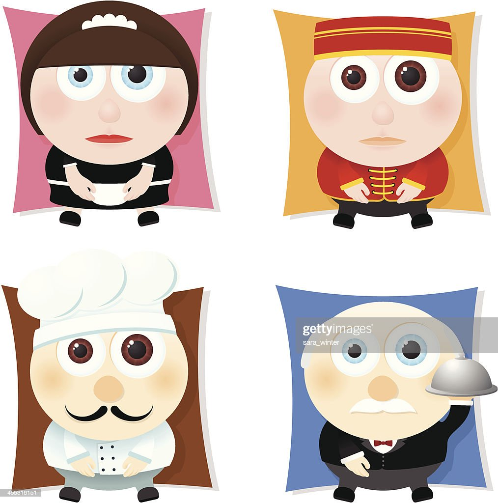 Collection of big-eyed hospitality workers: maid, bellboy, chef, butler