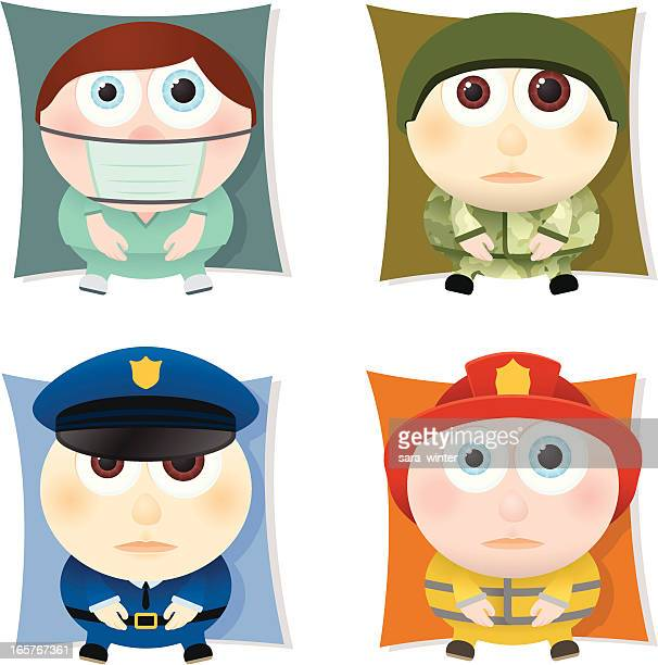 Collection of big-eyed public services people: doctor, soldier, policeman, firefighter