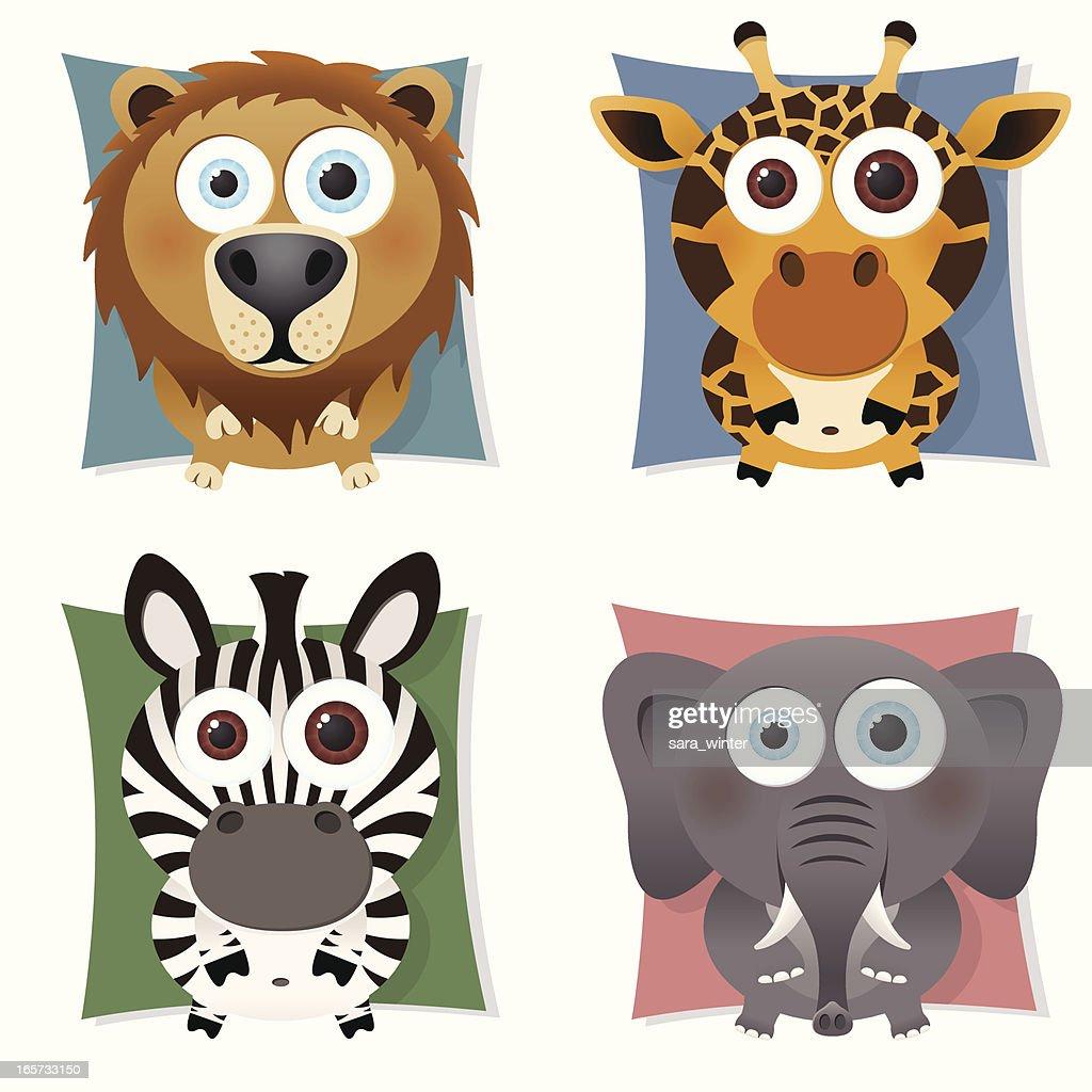 Collection of big-eyed safari animals: lion, giraffe, zebra, elephant