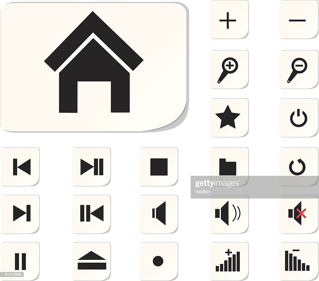 Collection of black and white computer shortcut buttons