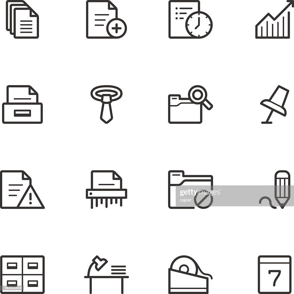 A collection of black and white office icons