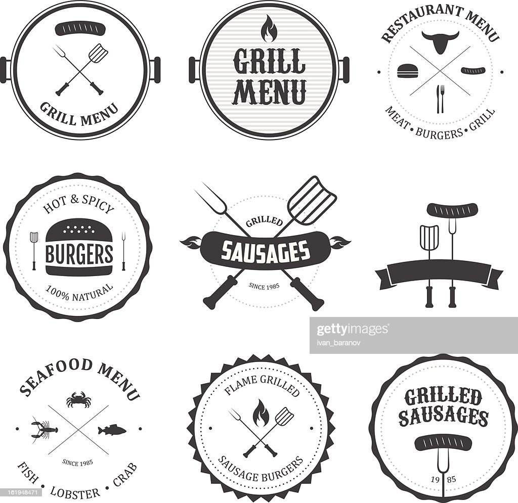 Collection of black and white restaurant menu designs