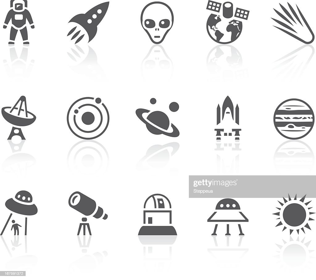 Collection of black and white space icons