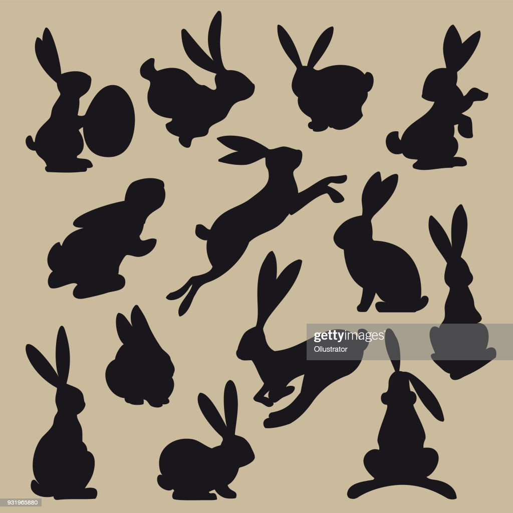 Collection of black easter rabbit silhouettes : stock illustration