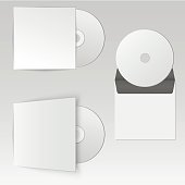 Collection of blank realistic CD mock up with envelope, package design. Vector illustration