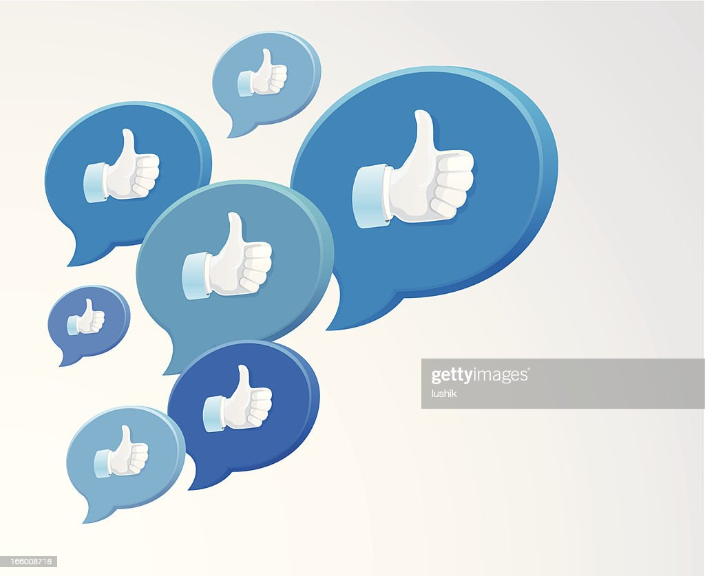 Collection of blue chat bubbles with thumbs up icons