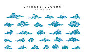 Collection of blue clouds in Chinese style