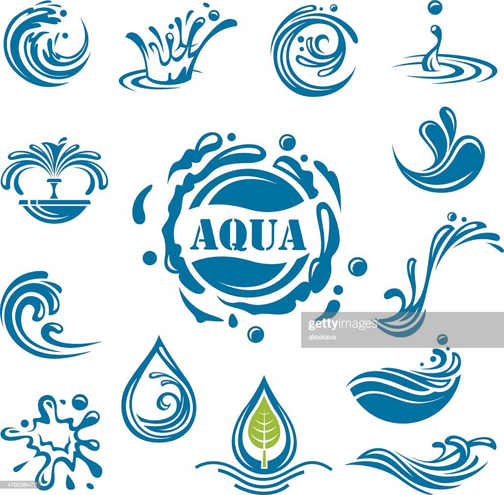 Collection of blue water icons on white background