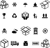 Collection of boxes and packaging icons