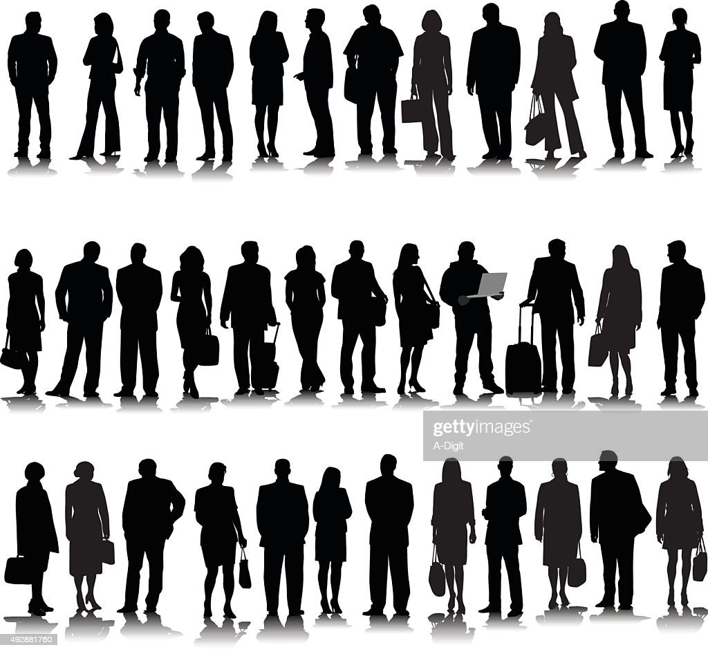 Collection Of Business Silhouette : stock illustration