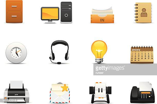 collection of business themed icons - rolodex stock illustrations, clip art, cartoons, & icons