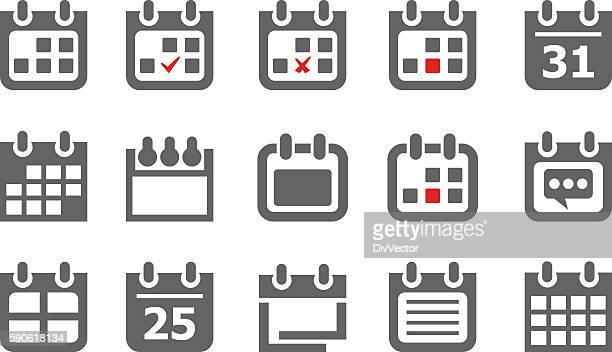 collection of calendar icons - today single word stock illustrations
