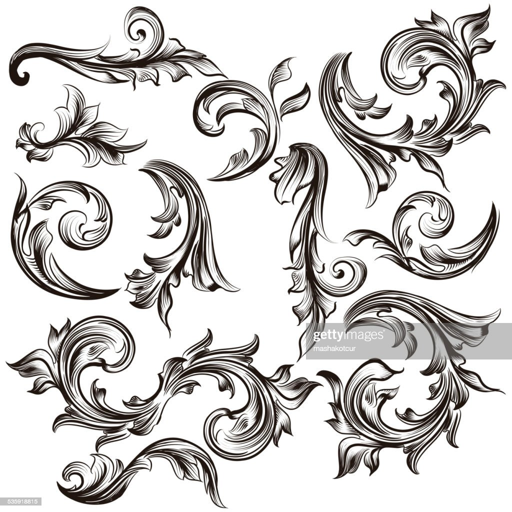 Collection of calligraphic swirls in vintage style : Vector Art