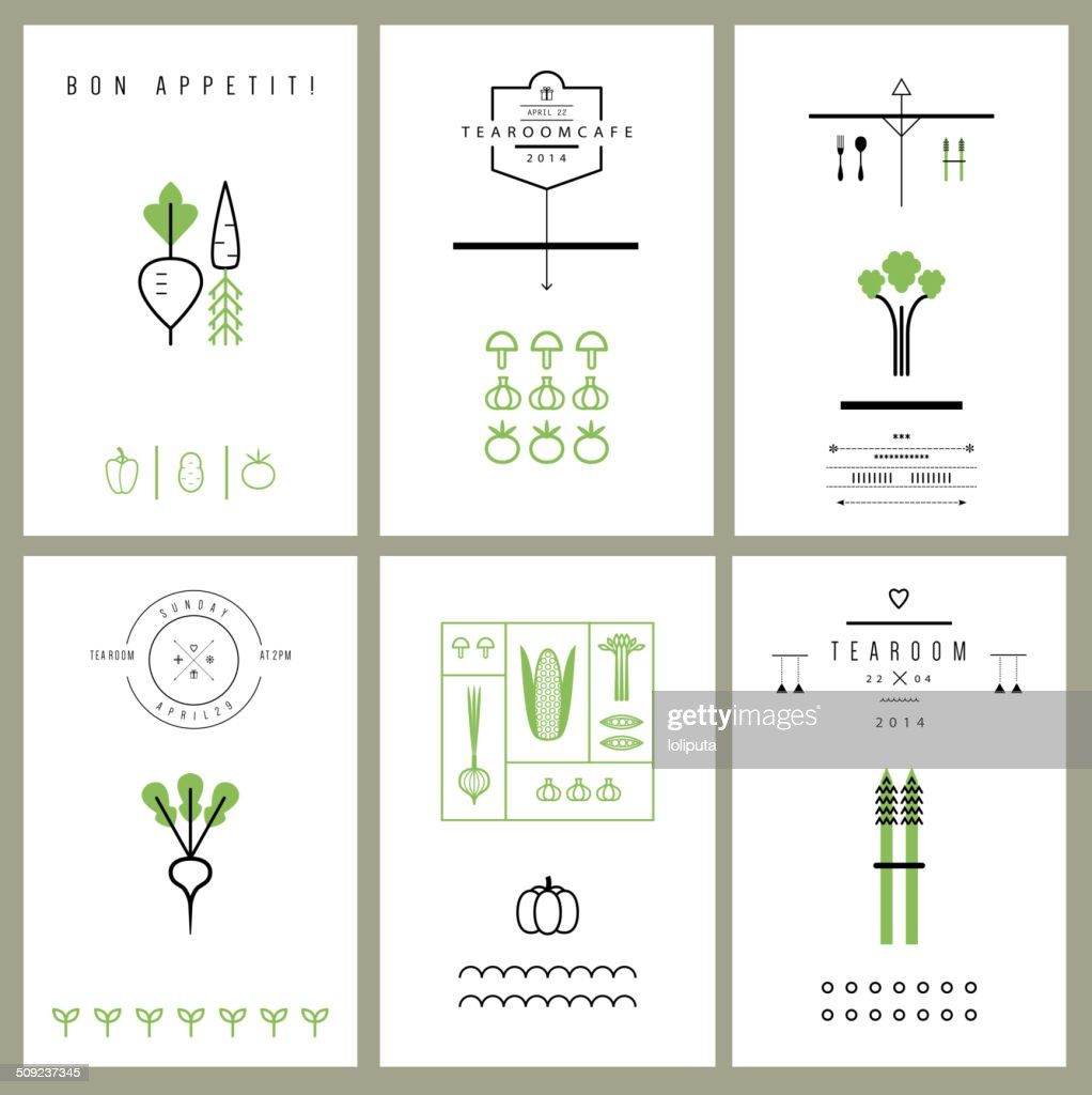 Collection of cards with Vegetables. Icons. Vector. Isolated