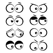 Collection of cartoon eyes with different emotions. Vector illustration