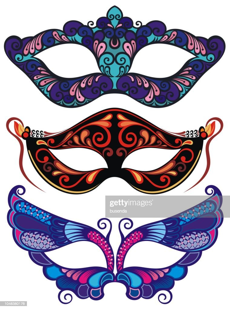 Collection of cartoon illustrations of venetian carnival masks for a party