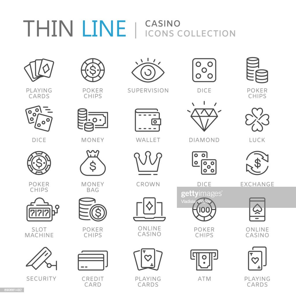 Collection of casino thin line icons