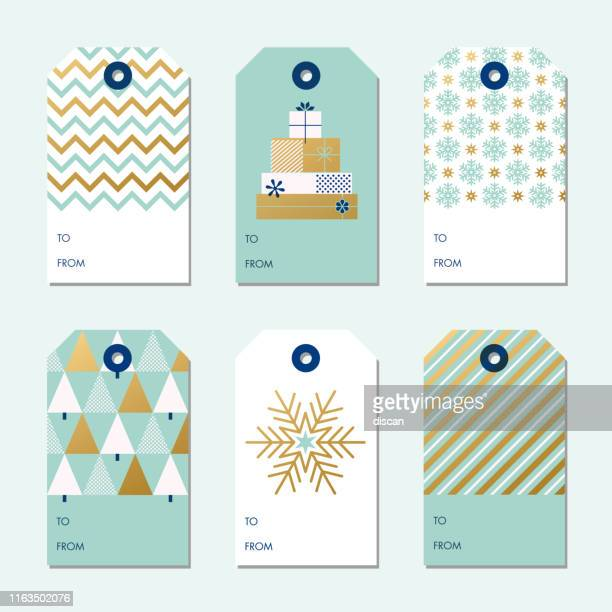 collection of christmas and new year gift tags. - label stock illustrations