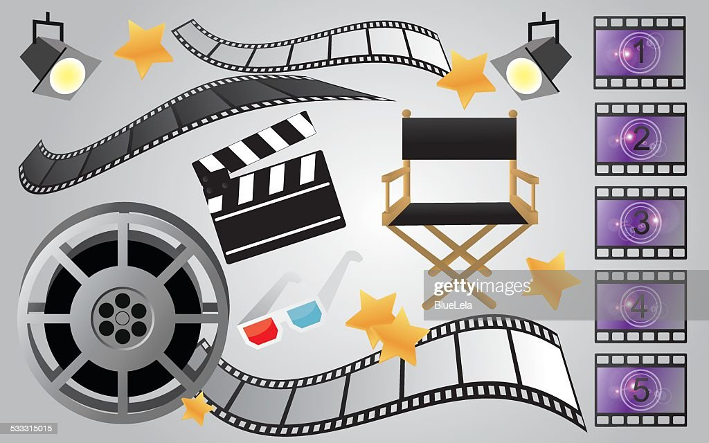 Collection of cinema or movie items, vector
