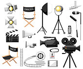 Collection of cinematography. Making a movie cartoon icon set. Director chair, movie camera with film reels, searchlight, megaphone and clapperboard. Vintage cinema concept