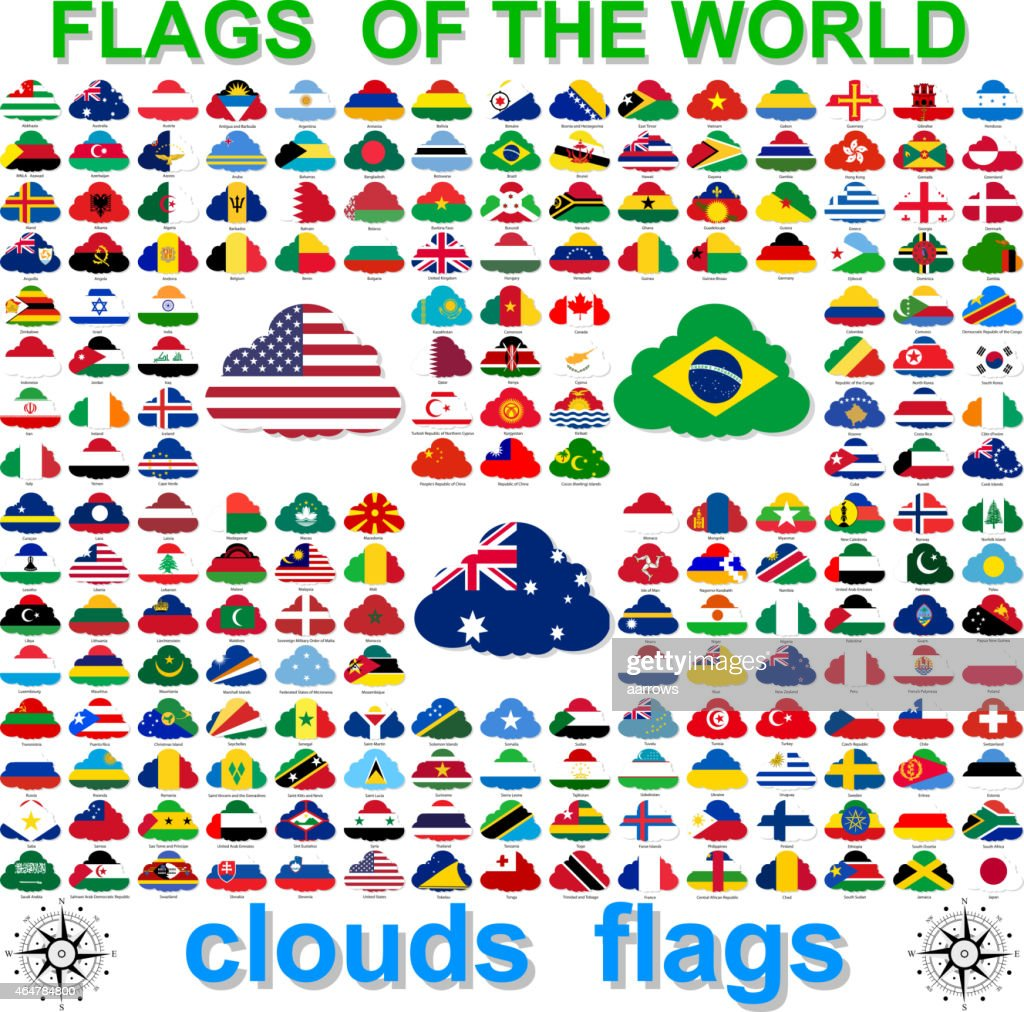 Collection of cloud shaped flags of the world