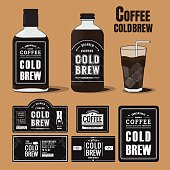 Collection of coffee cold brew labels in bottles