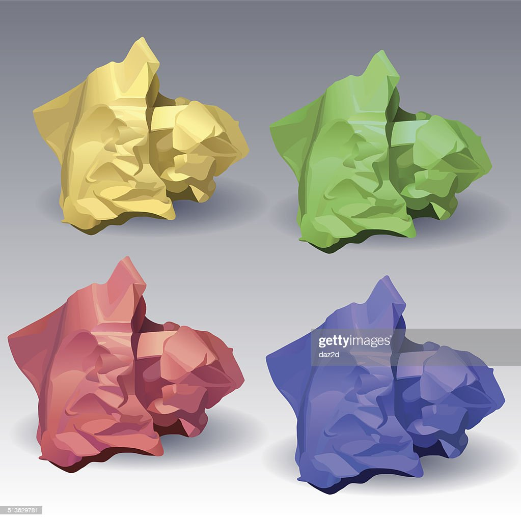 Collection Of Color Crumpled Papers
