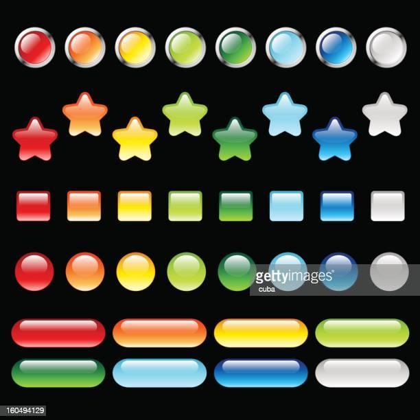 ilustrações, clipart, desenhos animados e ícones de conjunto de botões coloridos - www