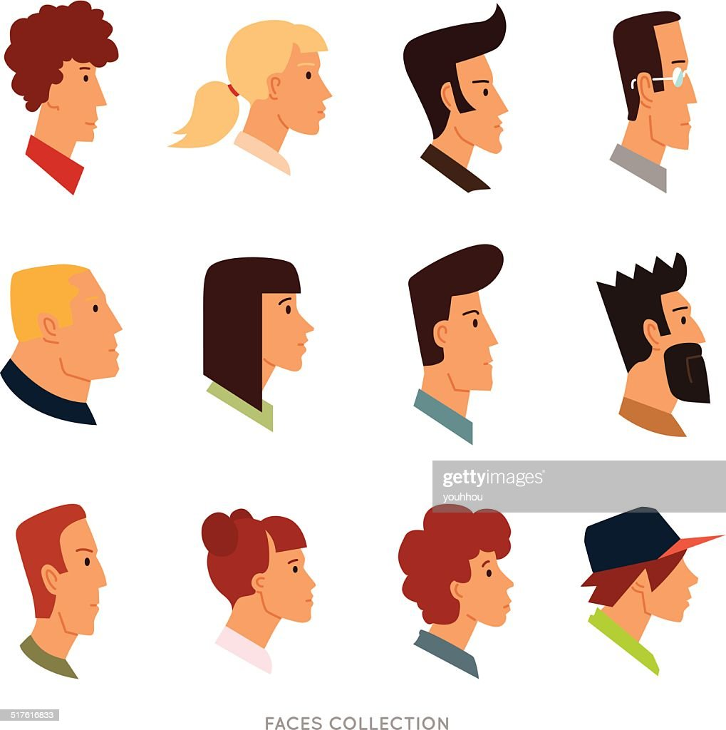 Collection of colored flat avatars with different human heads