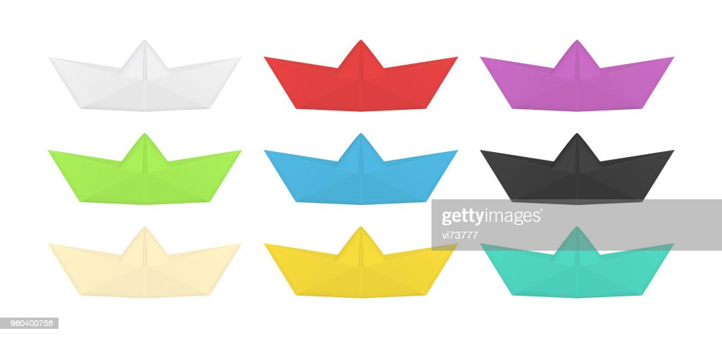 Collection of colored origami boat. Folded paper ship set. Isolated vector.