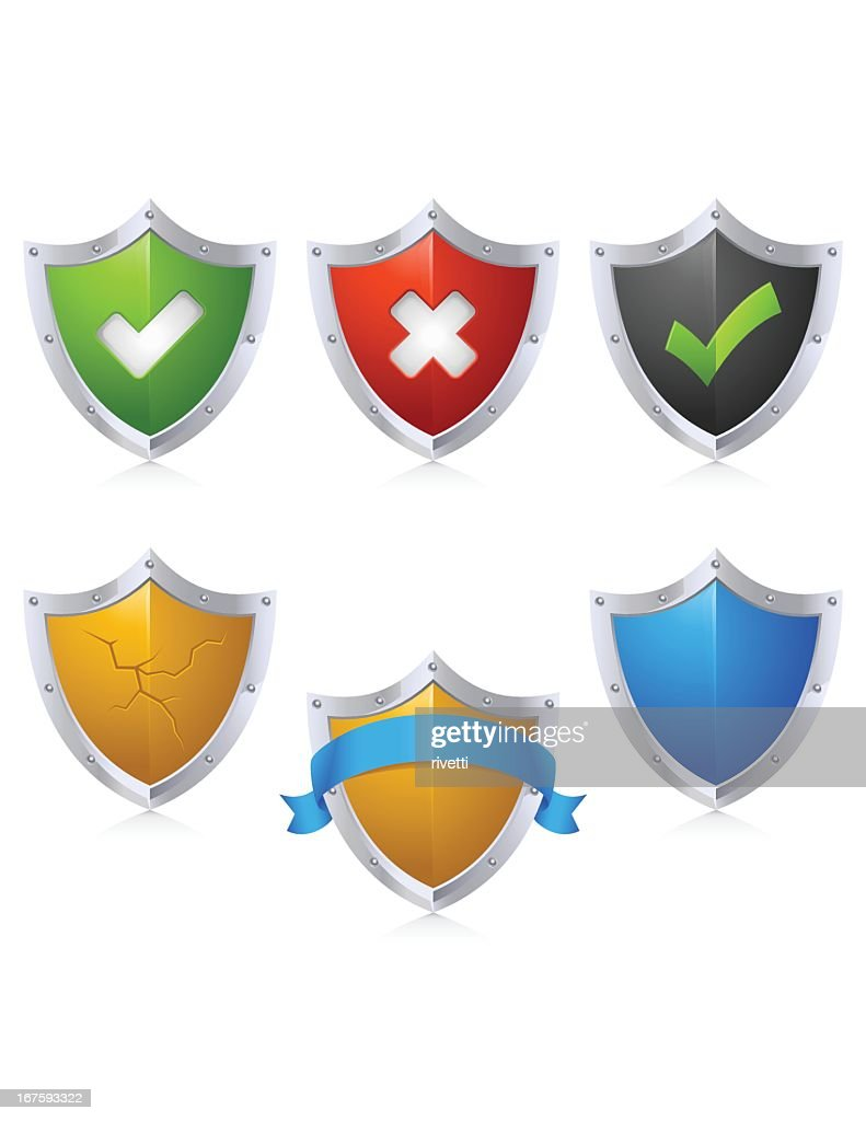 A collection of colored security shield icons