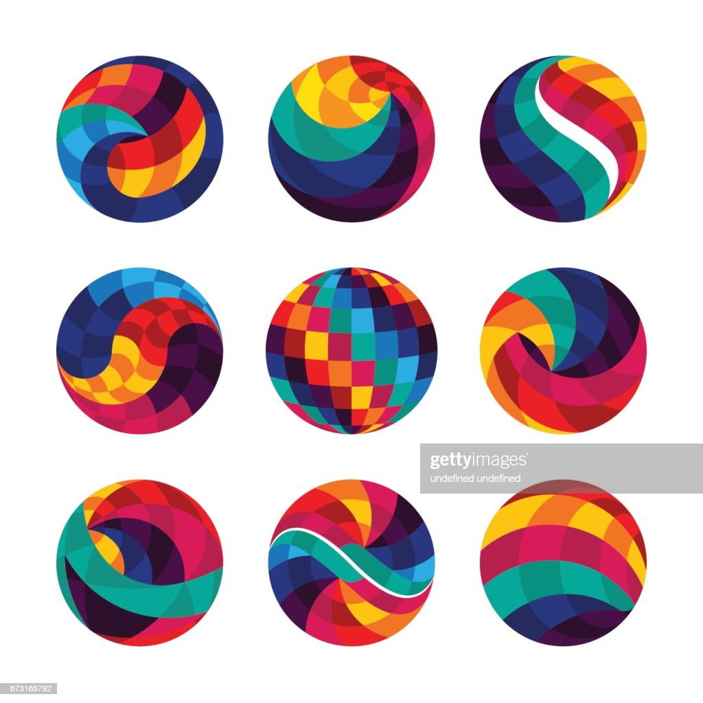Collection of colorful abstract geometric circle icons