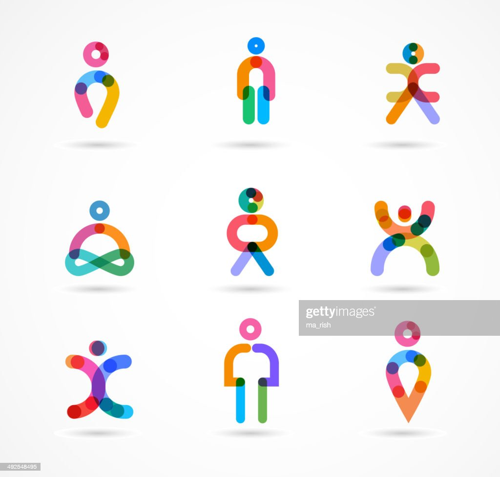 Collection of colorful abstract vector people