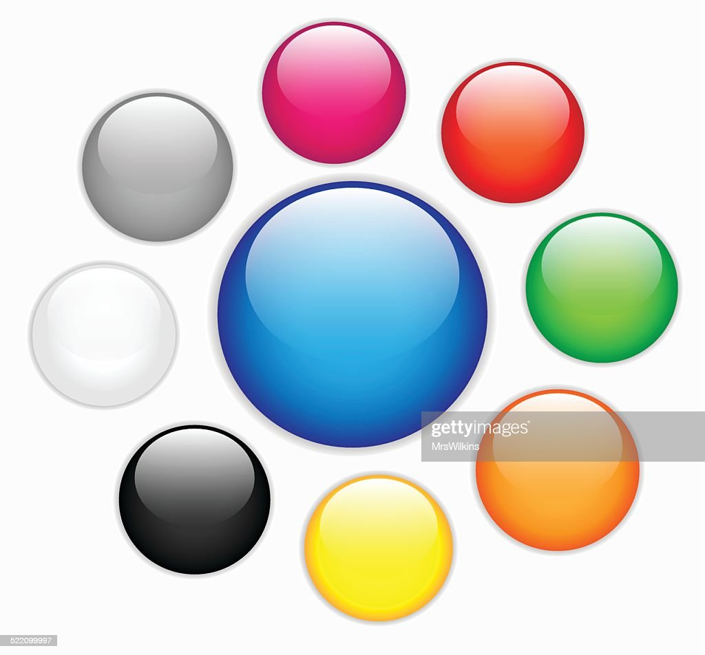 Collection of colorful blank round glossy web buttons verctor