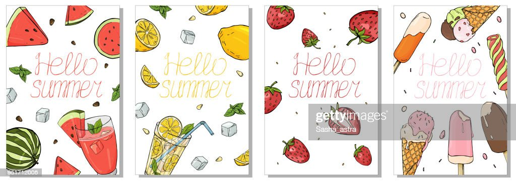 Collection of colorful cards on the summer theme. Refreshing drinks, fruit and ice cream.