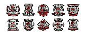 Collection of colorful emblems, symbol, badge, firefighter in a gas mask, rescue squad, vector illustration.