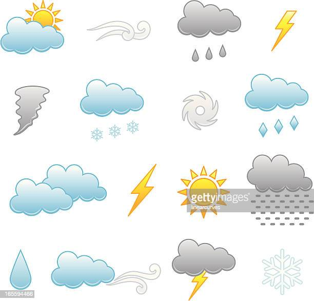 collection of colorful icons depicting different weathers - hailstone stock illustrations, clip art, cartoons, & icons