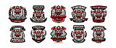 A collection of colorful icons, emblems, labels, fireman and dangerous job. Lethal task, a dangerous profession, skull, skeleton, axes on the cross, mask, rescue squad, uniforms. Vector illustration