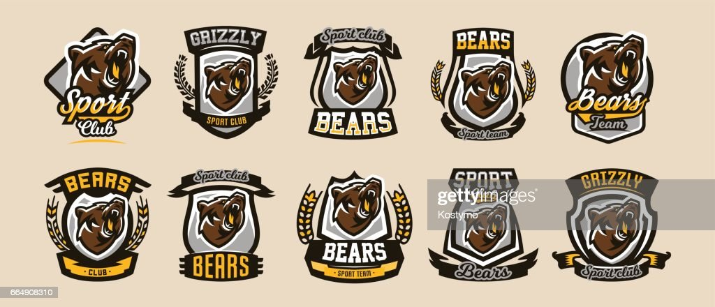A collection of colorful symbols, emblems, growling bear, grizzly, evil predator ready to attack. Sports style, vector illustration, printing on T-shirts